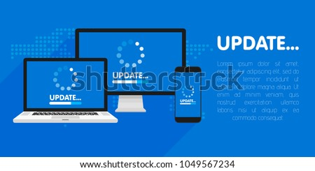 Computer, laptop and smartphone with update process screen. Install new software, operating system support. Vector illustration.