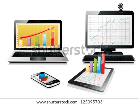 Computer, Laptop Tablet and Phone with business graph . Set of Computer Devices