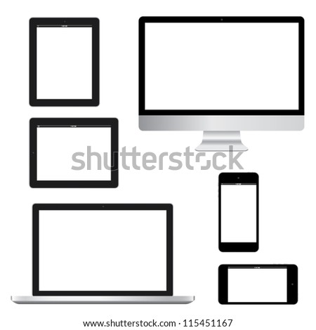Computer laptop tablet phone gadget isolated eps10 vector