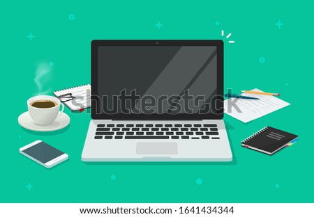 Computer laptop with blank empty screen for copy space text on working desk table or workplace vector illustration flat cartoon, pc with empty display work place office modern design