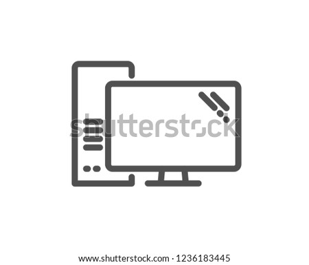 Computer line icon. PC component sign. Monitor with case symbol. Quality design flat app element. Editable stroke Computer icon. Vector
