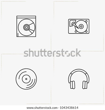 Computer line icon set with compact disk, hard disk  and headphone