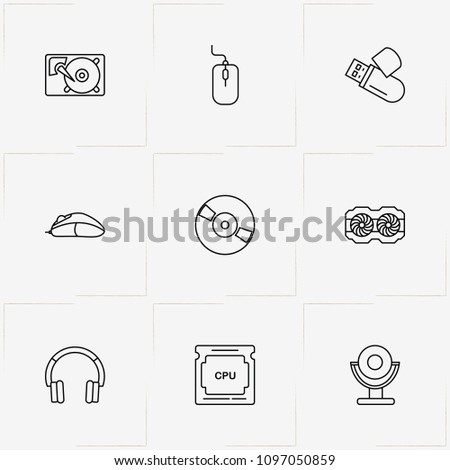 Computer line icon set with web camera , hard disk  and hard disk fan