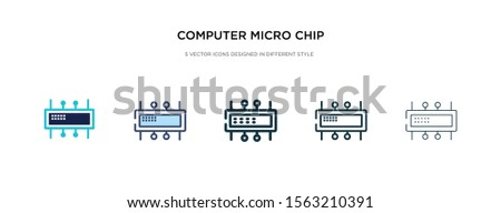 computer micro chip icon in different style vector illustration. two colored and black computer micro chip vector icons designed in filled, outline, line and stroke style can be used for web,