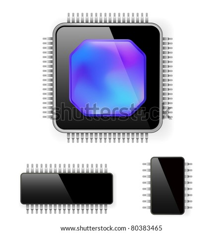 Computer microcircuit. Illustration on white background for design