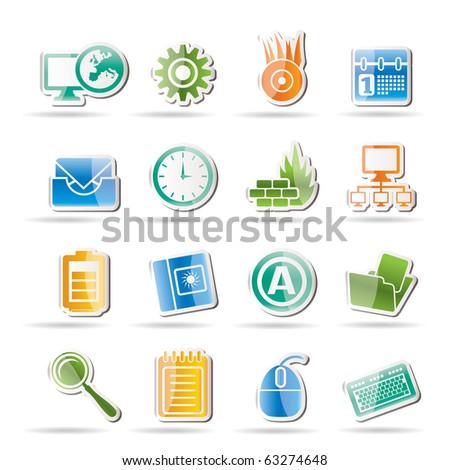 Computer, mobile phone and Internet icons -  Vector Icon Set