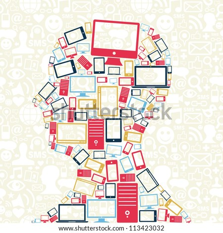 Computer, mobile phone and tablet colors icons in man head with social media pattern background. Vector illustration layered for easy manipulation and custom coloring.