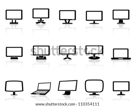 computer monitor icons set