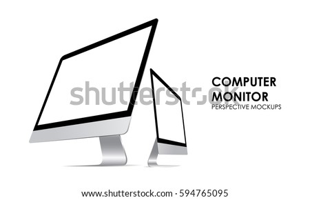 Computer monitor iMac with blank screen isolated. iMac perspective mockups. View to showcase your website design project. Vector illustration