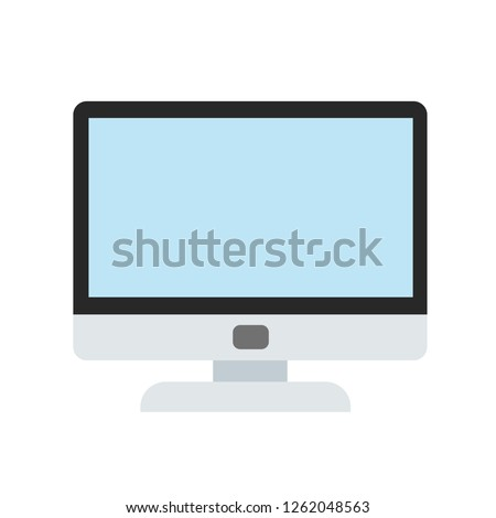 computer monitor in cartoon style icon on white, stock vector illustration