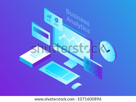 Computer Monitor Keyboard Mouse  Stack of Papers Clock Isometric Flat vector illustration. Business Finance Analytics 3d concept.