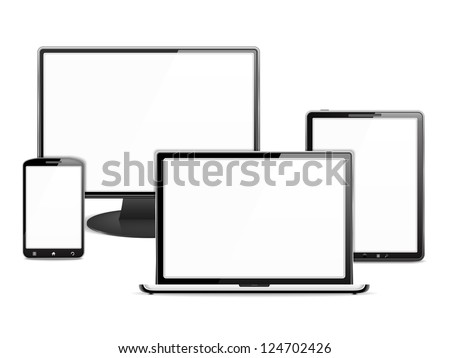 Computer monitor, laptop, tablet pc and smart phone, each device has a white blank screen, vector eps10 illustration