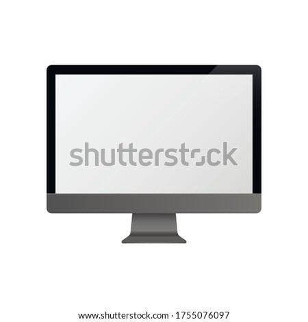 Computer monitor. Mock Up. Vector illustration. iMac - monoblock series of personal computers, created by Apple Inc.