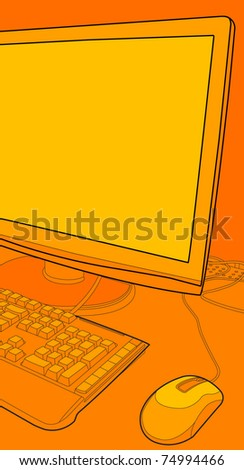 computer monitor on a table