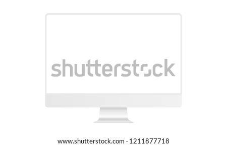 Computer monitor white mock up with blank frameless screen - front view. Vector illustration