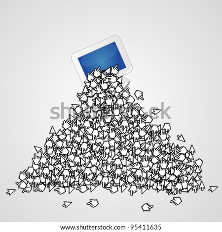 Computer monitor with a lot of arrow cursors - stock vector