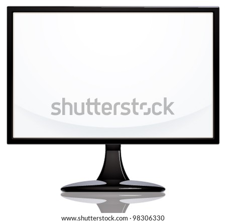 Computer monitor with blank white screen in frontal view, wide screen, vector background.