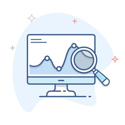 Computer monitor with graph and magnifying glass vector linear icon