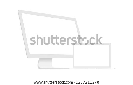 Computer Monitor With Laptop Clean Mockups Isolated On White Background. Vector Illustration