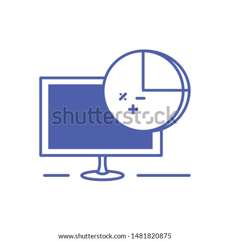 computer monitor with statistical graphics circular