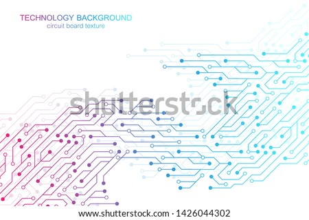 Computer motherboard vector background with circuit board electronic elements. Electronic texture for computer technology, engineering concept. Motherboard computer generated abstract illustration.