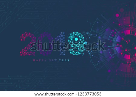 Computer motherboard vector background with circuit board electronic elements. Text design Christmas and Happy new year 2019. Electronic texture for computer technology, engineering concept 2019.