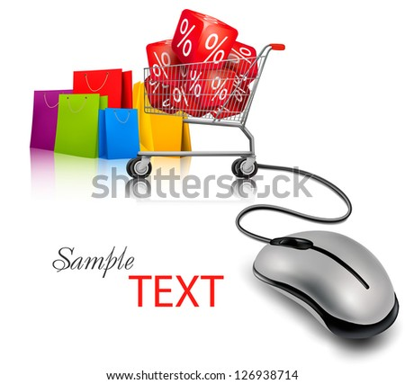 Computer mouse, a shopping cart and shopping bags. Concept of e-shopping and sale. Vector.
