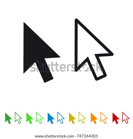 Computer mouse click pointer arrow flat icon for apps and websites