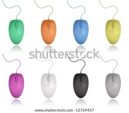 Computer Mouse Color Collection. Vector Illustration.