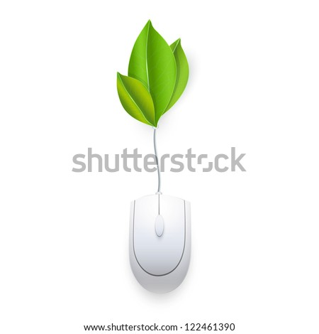 Computer mouse connected to a leaves. Vector design,