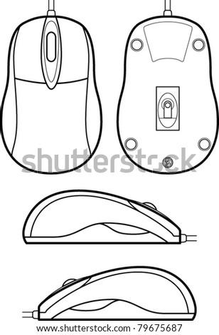 computer mouse line art