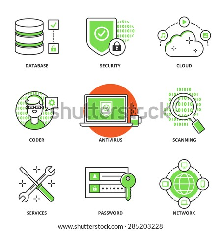 Computer network and security vector icons set: database, security, cloud computing, coder, antivirus, scanning, services, password, networking. Modern line style