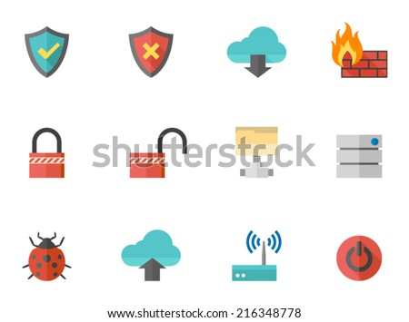 computer network icons in flat