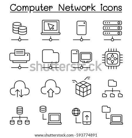 Computer Network & Server Hosting icon set in thin line style