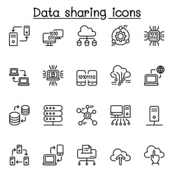 Computer network, Sharing data icon set in thin line style for website, application, printing, poster, document, card etc.