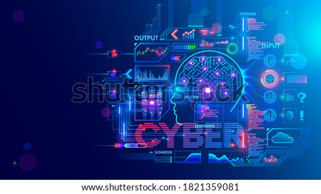 Computer neural network or AI on programming language python. Abstract interface elements of artificial intelligence. Deep machine learning. Big data processing technology. Conceptual illustration.