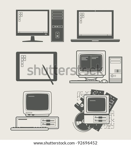 computer new and old set icon