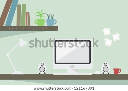 computer on desk. EPS10 VECTOR