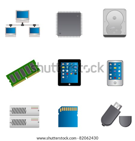 Computer parts and computers icon set