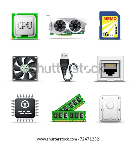 Computer parts | Bella series - stock vector