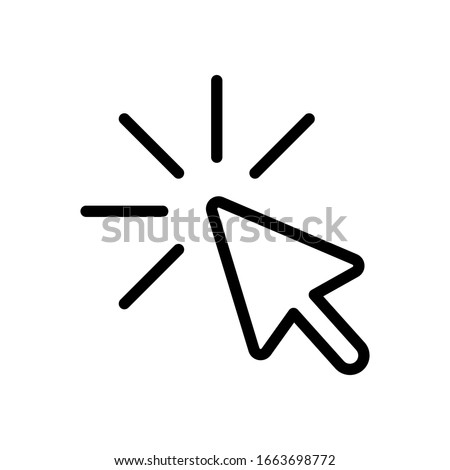 Computer pointer, cursor or mouse arrow, click, outline design. Black icon on white background Photo stock ©