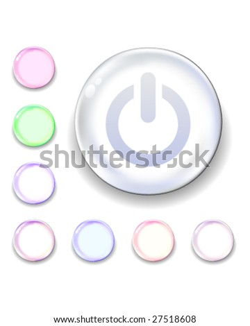 Computer power icon on translucent glass orb vector button