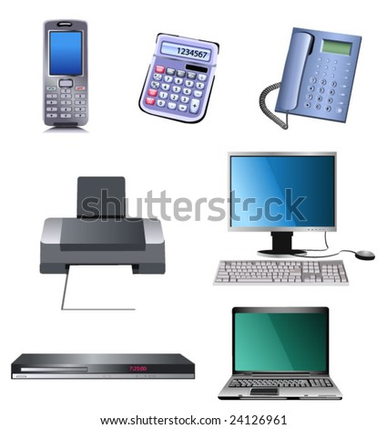 computer, printer and mobile phone