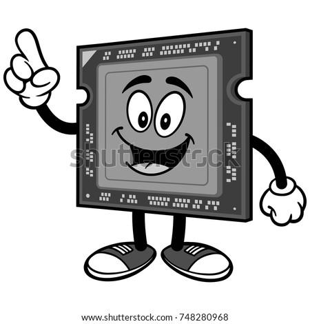 Computer Processor Talking Illustration