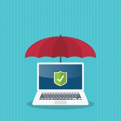 Computer protection concept. Laptop computer under umbrella protected from the rain and protecting shield on a screen. Safety information, antivirus, data privacy, malware. Vector illustration.