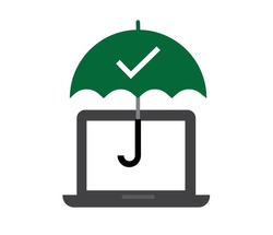 Computer protection concept vector. computer under umbrella and protection. antivirus banner, information security, digital data privacy, editable vector.