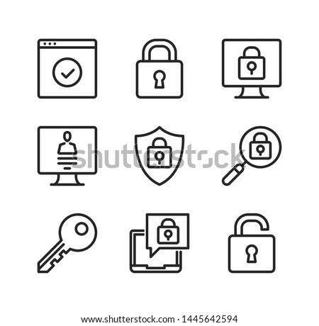 Computer protection vector line icons. Cybersecurity, computer security concepts. Simple outline symbols, modern linear graphic elements collection. Line icons set