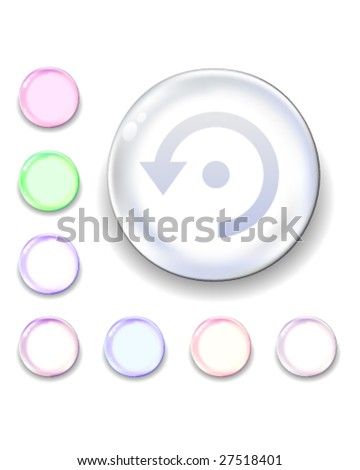 Computer refresh icon on translucent glass orb vector button