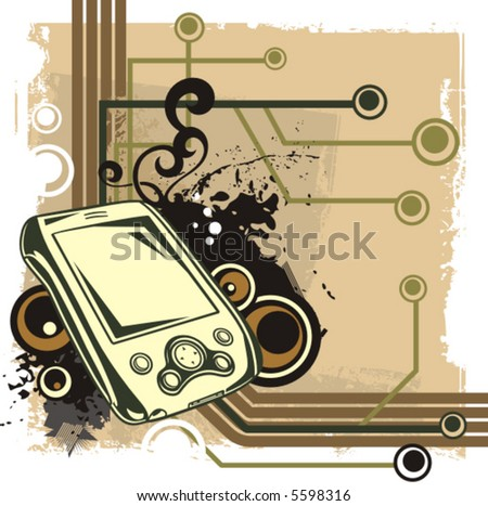 Computer related abstract background series. Vector illustration with a hand held computer, and circuit and grunge details.