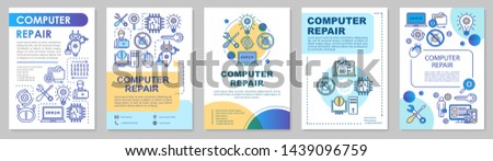 Computer repair brochure template layout. Operating system reinstall. Flyer, booklet, leaflet print design with linear illustrations. Vector page layouts for annual reports, advertising posters